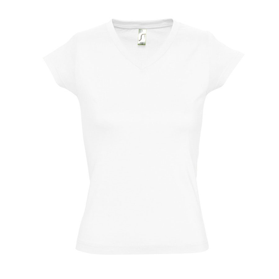 Image of TEE SHIRT PUBLICITAIRE FEMME COL V 'MOON' BLANC 150 GR/M²