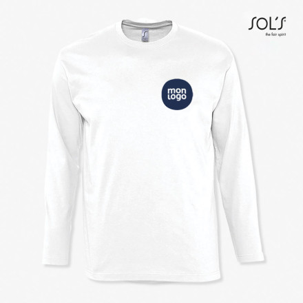 TEE SHIRT HOMME MANCHES LONGUES 'MONARCH' BLANC 150 GR/M²