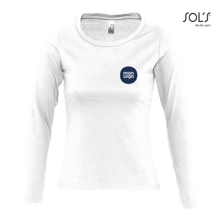TEE SHIRT MANCHES LONGUES FEMME 'MAJESTIC' BLANC 150 GR/M²