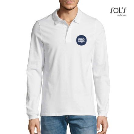 POLO PUBLICITAIRE MANCHES LONGUES HOMME 'WINTER II' BLANC