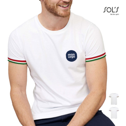 TEE SHIRT PERSONNALISABLE HOMME 'RAINBOW' BLANC