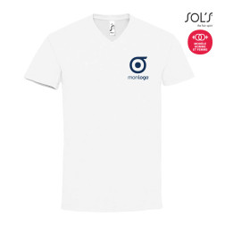 TEE-SHIRT BLANC HOMME PUBLICITAIRE COL V 'IMPERIAL V'