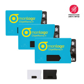LOT DE 100 PORTE-CARTES PERSONNALISÉS ANTI-RFID 'ENSURE' - EXPEDITION EXPRESS 72H
