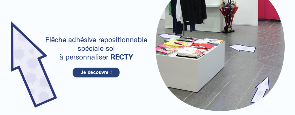Découvrez la flèche adhésive repositionnable spécial sol 'Recty'