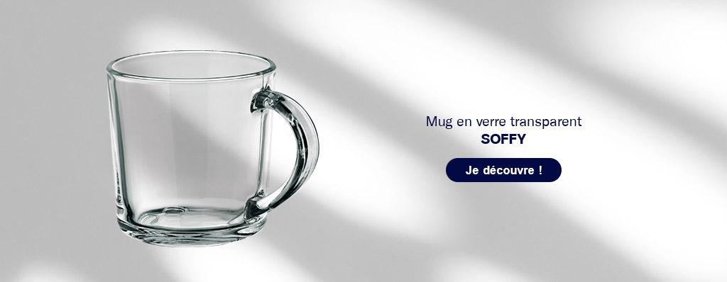 Mug publicitaire en verre 'Soffy'