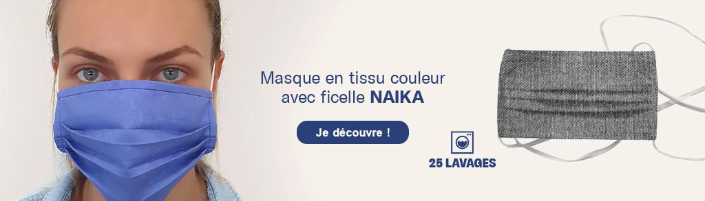 Découvrez le masque en tissu couleur 'Naïka' avec ficelles